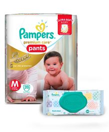 Pampers Premium Care Pant Style Diapers Medium - 20 Pieces And Pampers Fresh Clean Baby Wipes - 64 Pieces