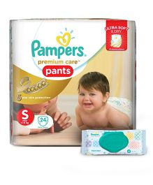 Pampers Premium Care Pant Style Diapers Small - 24 Pieces And Pampers Fresh Clean Baby Wipes - 64 Pieces