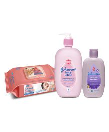 Johnsons baby Lotion 500 ml AND Johnsons baby Skincare Wipes 80 Pieces AND Johnsons bedtime baby bath 200ml