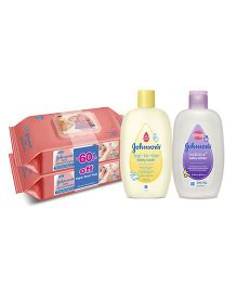 Johnsons baby Wipes Twin Pack AND Johnsons baby Top to Toe Wash  200 ml AND Johnsons bedtime baby lotion 200ml