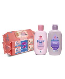Johnsons baby Wipes Twin Pack AND Johnsons baby Lotion  200 ml AND Johnsons bedtime baby bath 200ml