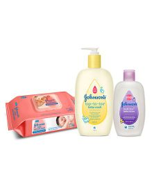 Johnsons Baby Essentials Combo wipes 80s + wash 500ml + lotion 200ml