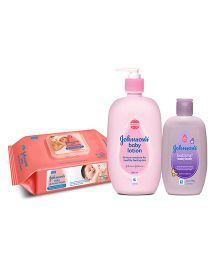 Johnsons Baby Skin Care Combo  wipes 80s + lotion 500ml + bath 200ml