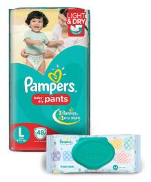 Pampers Pant Style Diapers Light And Dry Large - 48 Pieces And Pampers Fresh Clean Baby Wipes - 64 Pieces