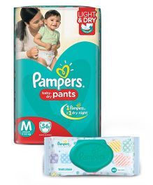 Pampers Pant Style Diapers Light And Dry Medium - 56 Pieces And Pampers Fresh Clean Baby Wipes - 64 Pieces
