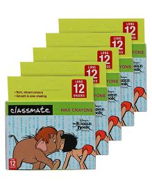 Jungle Book Classmate Long Wax Crayons -12 Shades -Pack of 5