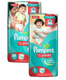 Pampers Pant Style Diapers Light And Dry Small - 42 Pieces & Pampers Pant Style Diapers Medium - 56 Pieces