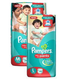 Pampers Pant Style Diapers Medium - 56 Pieces & Pampers Pant Style Diapers Large - 48 Pieces