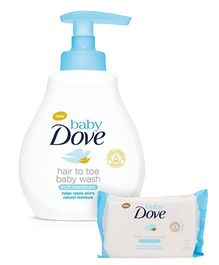 Baby Dove Rich Moisture Hair to Toe Baby Wash - 200 ml And Baby Dove Baby Wipes Rich Moisture - 50 Pieces