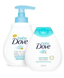 Baby Dove Rich Moisture Hair to Toe Baby Wash - 200 ml And Baby Dove Baby Lotion Rich Moisture - 200 ml