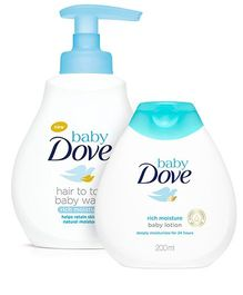 Baby Dove Rich Moisture Hair to Toe Baby Wash - 400 ml And Baby Dove Baby Lotion Rich Moisture - 200 ml