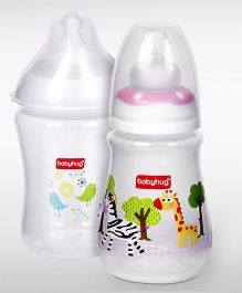 Babyhug Wide Neck Feeding Bottle - 250 ml and Babyhug Drop Feeding Bottle - 150 ml