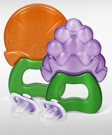 Babyhug Pacifier Pack Of 2 - Purple and  Babyhug Water Filled Grapes Teether - Purple and Babyhug Water Filled Orange Teether - Orange