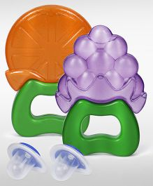 Babyhug Water Filled Foothball Teether- Red and  Babyhug Water Filled Grapes Teether - Purple and Babyhug Water Filled Orange Teether - Orange