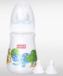 Babyhug Drop Feeding Bottle White - 150 ml and  Babyhug Nipples Pack of 2