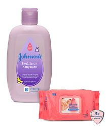 Johnsons baby Skincare Wipes - 80 Pieces AND Johnsons bedtime baby bath 200ml