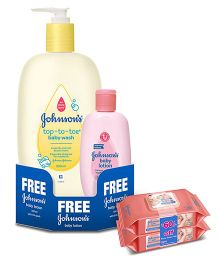 Johnsons Baby Top to Toe Baby Wash 500 ml Plus Get Free 100 ml Johnsons Baby Lotion AND Johnsons baby Skincare Wipes Pack Of 2 - 160 Pieces