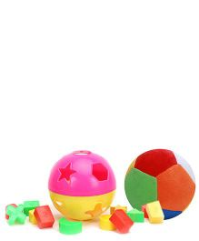 Dimpy Stuff Colorful Soft Ball - 36 cm and  Venus Learning Shapes Ball