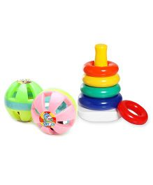 Kumar Toys Small Ball Rattle Set - Contains 2 and  Fisher Price Rock A Stack - Multi Color
