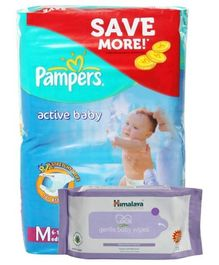 Pampers - Active Baby (Imported) M 62 Pieces and Himalaya - Gentle Baby Wipes 72 Pieces (Set of 2)