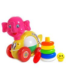 Luvely Musical Pull Along Funny Elephant Toy - Multicolor and  Littles Junior Ring Play And Learn Toy