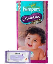 Pampers Active Baby L 50 Pieces and Himalaya - Gentle Baby Wipes 72 Pieces (Set of 2)