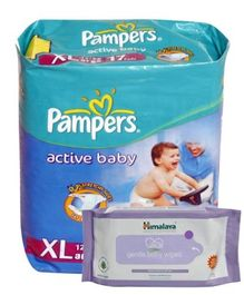 Pampers Active Baby (Imported) XL 17 Pieces and Himalaya - Gentle Baby Wipes 72 Pieces (Set of 2)