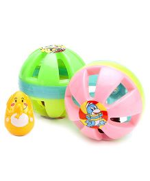Kumar Toys Small Ball Rattle Set - Contains 2 and  Funworld Melody Roly Poly
