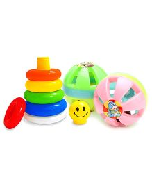 Kumar Toys Small Ball Rattle Set - Contains 2 and  Littles Junior Ring Play And Learn Toy