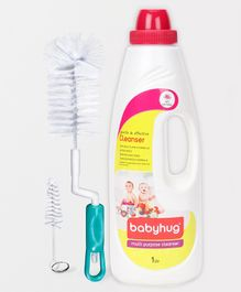 Babyhug Feeding Bottle Accessories & Vegetables Liquid Cleanser - 1000 ml with Bottle Cleansing Brush