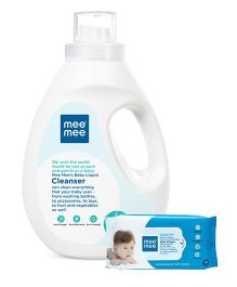 Mee Mee Caring Baby Wet Wipes - 72 Pieces AND Mee Mee Baby Accessories and Vegetable Liquid Cleanser - 1500 ml