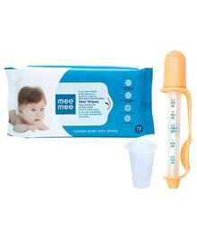 Mee Mee Caring Baby Wet Wipes - 72 Pieces AND Mee Mee 2 in 1 Accurate Medicine Dropper Cum Dispenser - Yellow