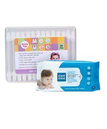Mee Mee Caring Baby Wet Wipes - 72 Pieces AND Mee Mee Cotton Ear Buds - 80 Pieces