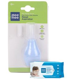 Mee Mee Caring Baby Wet Wipes - 72 Pieces AND Mee Mee Nose Cleaner - Blue