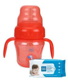 Mee Mee Caring Baby Wet Wipes - 72 Pieces AND Mee Mee 2 in 1 Spout & Straw Sipper Cup Red - 150 ml