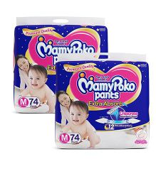 Mamy Poko Extra Absorb Pant Style Diapers Medium - 74 Pieces (Pack of 2)
