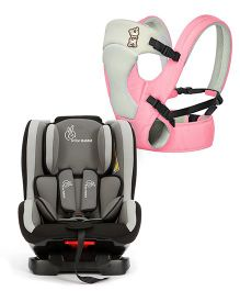 R for Rabbit New Cuddle Snuggle 3 Way Comfortable Baby Carrier - Pink & Grey AND R for Rabbit Jack N Jill Convertible Car Seat