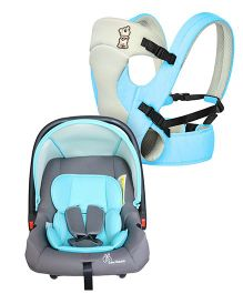 R for Rabbit New Cuddle Snuggle 3 Way Comfortable Baby Carrier - Blue & Grey AND R for Rabbit Picaboo Rear Facing Infant Car Seat Cum Carry Cot - Grey And Blue