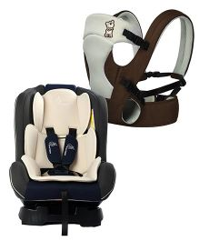 R for Rabbit New Cuddle Snuggle 3 Way Comfortable Baby Carrier - Brown & Grey AND R for Rabbit Jack N Jill Convertible Baby Car Seat - Cream & Grey