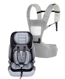 R for Rabbit Upsy Daisy Smart Hip Seat Baby Carrier - Grey Cream AND R for Rabbit Jumping Jack The Growing Baby Forward Facing  Car Seat - Black And Grey