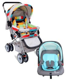 R for Rabbit The Colorful Pram Lollipop - Grey & Multicolor AND R for Rabbit Picaboo Rear Facing Infant Car Seat Cum Carry Cot - Grey And Blue