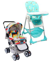 R for Rabbit Marshmallow The Smart High Chair - Green AND R for Rabbit The Colorful Pram Lollipop - Grey & Multicolor