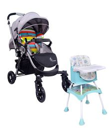 R for Rabbit Cherry Berry Grand The Convertible 4 in 1 High Chair Elephant Print - Light Blue AND R for Rabbit Chocolate Ride The Designer Pram Rainbow