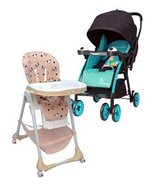 R for Rabbit Marshmallow The Smart High Chair - Beige AND R for Rabbit Poppins An Ideal Pram For Moms - Blue & Black