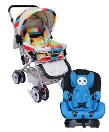 R for Rabbit The Colorful Pram Lollipop - Grey & Multicolor AND R for Rabbit Jolly Panda The Convertible Car Seat - Sky Blue