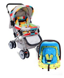 R for Rabbit The Colorful Pram Lollipop - Grey & Multicolor AND R for Rabbit Happy Panda The Growing Baby Car Seat - Sky Blue