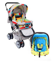 R for Rabbit The Colorful Pram Lollipop - Grey & Multicolor AND R for Rabbit Picaboo Infant Car Seat cum Carry Cot - Blue Yellow
