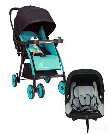R for Rabbit Poppins An Ideal Pram For Moms - Blue & Black AND R for Rabbit Picaboo Infant Car Seat Cum Carry Cot - Black And Grey