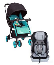 R for Rabbit Poppins An Ideal Pram For Moms - Blue & Black AND R for Rabbit Jumping Jack The Growing Baby Forward Facing  Car Seat - Black And Grey