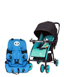 R for Rabbit Poppins An Ideal Pram For Moms - Blue & Black AND R for Rabbit Happy Panda The Growing Baby Car Seat - Sky Blue